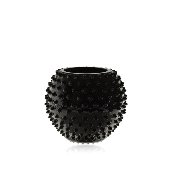 Black Glass Hobnail Round Vase