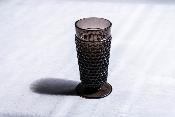 Close up to Black Smoke glass Hobnail Goblet