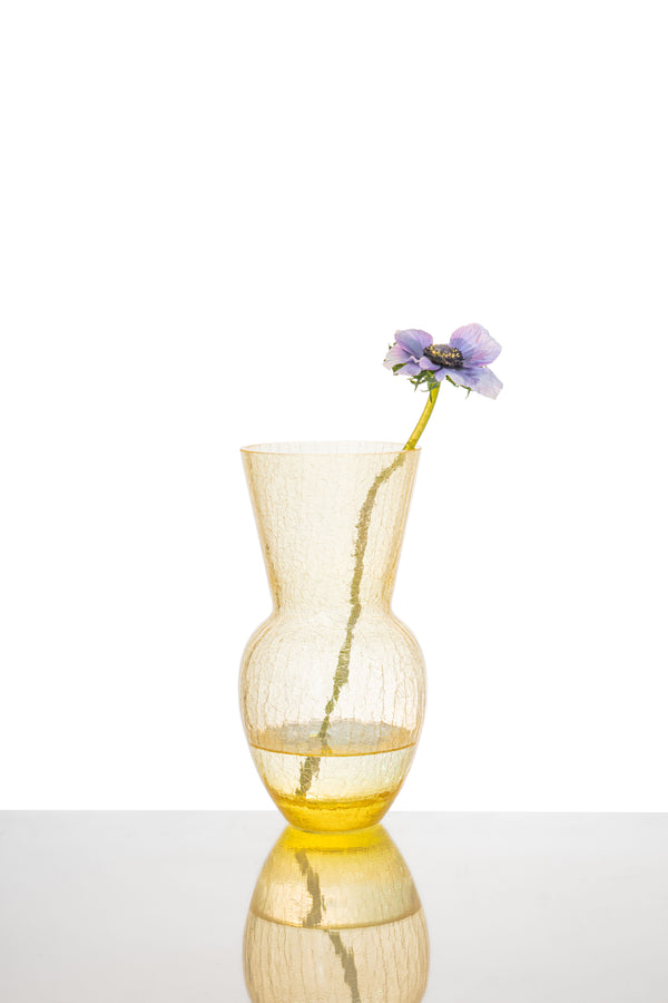 Glass Yellow Felicity Vase with Purple Flower inside