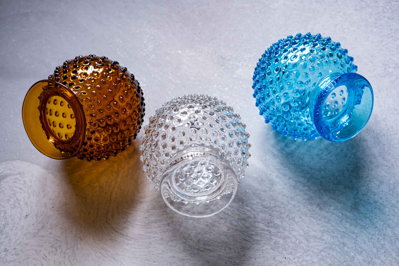 Different colours of Collar Vases from Hobnail collection