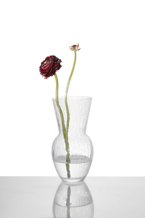 Glass Crystal Crackle Vase with Red Flower in it