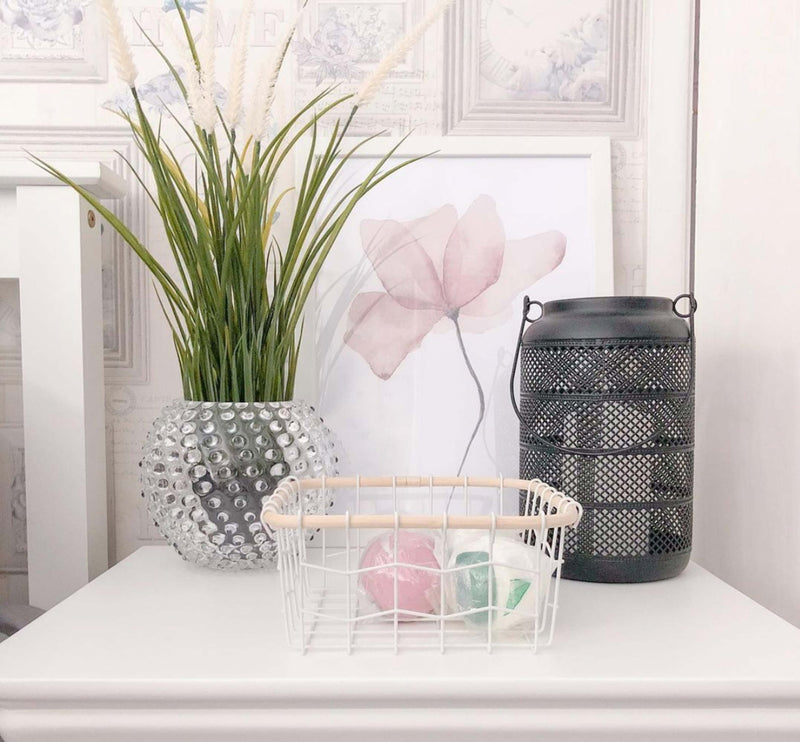 Crystal Hobnail Round Vase on a nightstand with flower inside