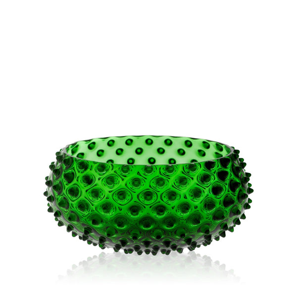 Glass Dark Green Hobnail Bowl