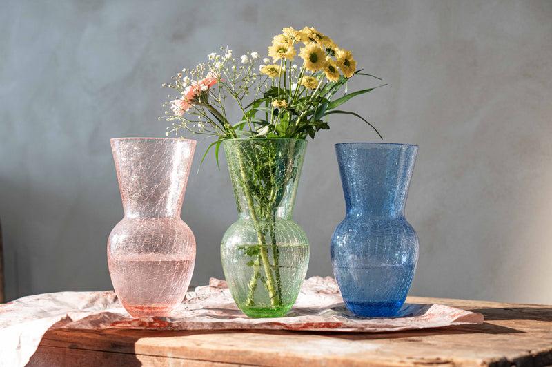 Rosaline, Light Green and Light Blue Glass Crackle Vases on the Table