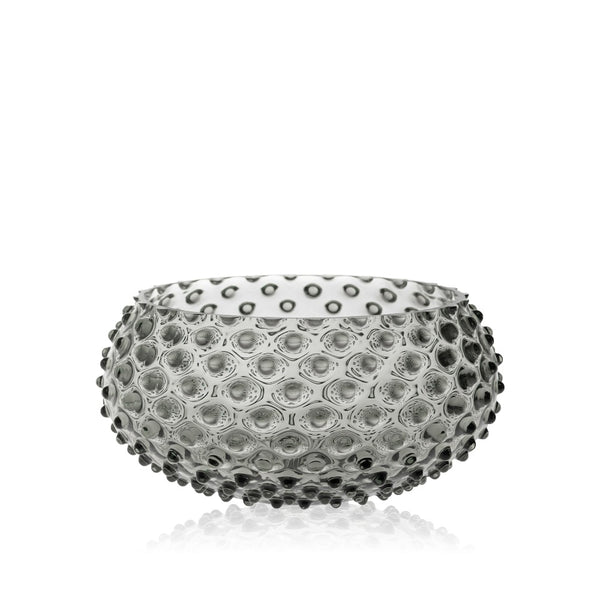 Glass Grey Smoke Hobnail Bowl