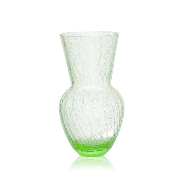 Glass Light Green Crackle Vase