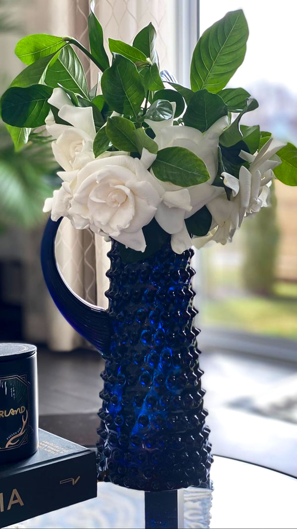 Royal Blue Hobnail Jug Tall