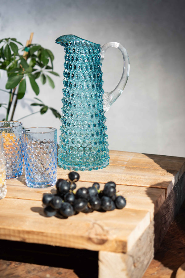 Underlay Aquamarine Hobnail Jug Tall with Hobnail tumblers in Light Blue colour
