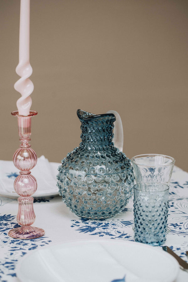 Underlay Blue Smoke Hobnail Jug with a matching Tumbler on the table