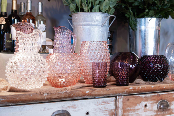 Violet Hobnail Tumbler with other pieces of Hobnail collection