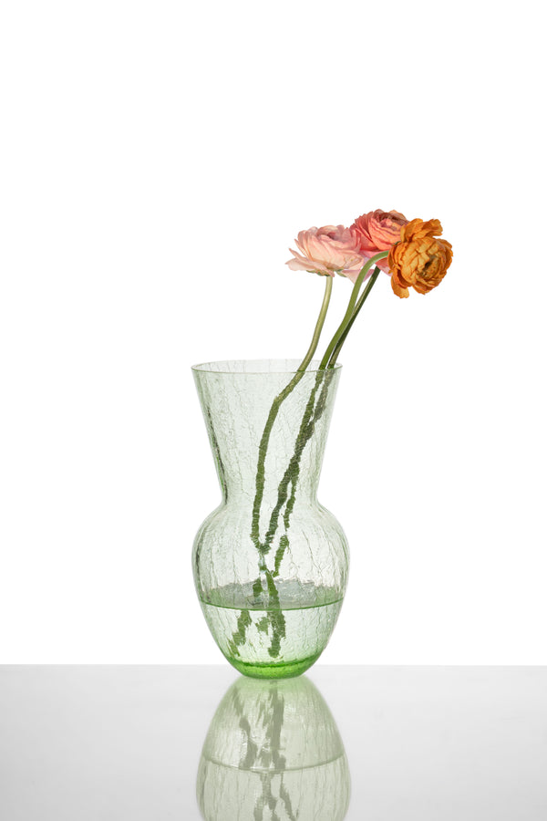 Glass Green Crackle Vase with Flowers in it