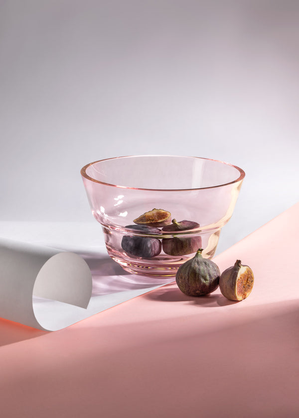 Large Suede Pink Bowl with figs inside