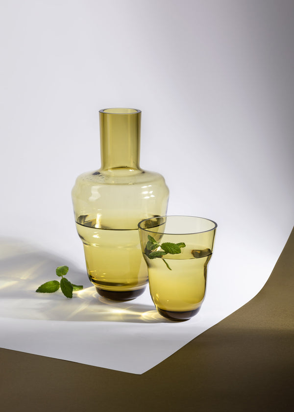 Bonsai Green carafe alongside matching High Ball Glass from Shadows