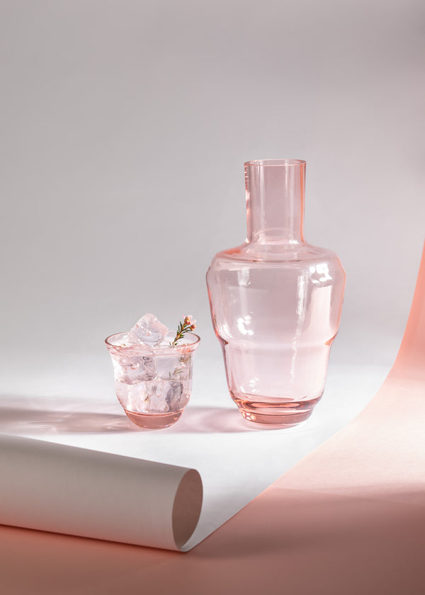 Suede Pink Carafe alongside matching drinking glass from Shadows Collection by KLIMCHI