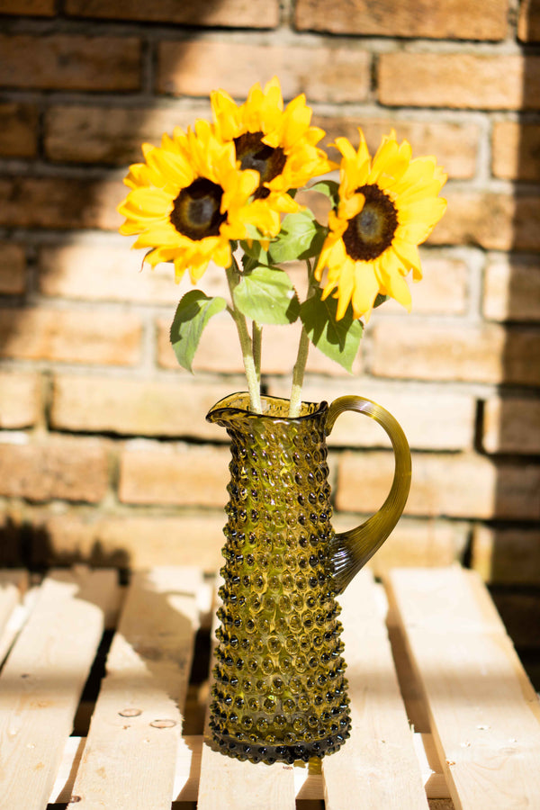 Tall Glass Hobnail Jug with Sunflowers in it