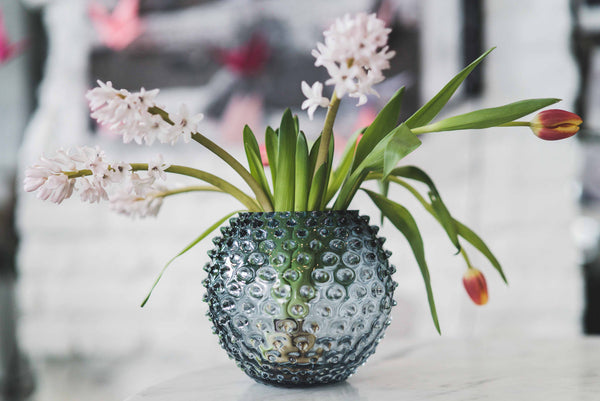 Underlay Blue Smoke Hobnail Round Vase with flowers