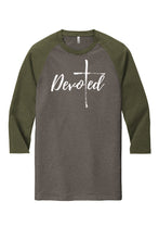 Load image into Gallery viewer, Devoted | The Power of One:  Tri-Blend 3/4 Sleeve Raglan Tee
