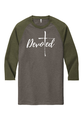 SALE! Devoted Tri-Blend 3/4 Sleeve Raglan Tee