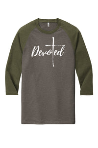 CLEARANCE! Devoted Tri-Blend 3/4 Sleeve Raglan Tee