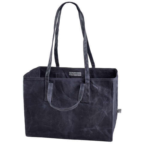 Tote Bag (Waxed Canvas, Heavy-Duty, Biodegradable, Foldable, Has Both Shoulder Straps and Handles, Gray)
