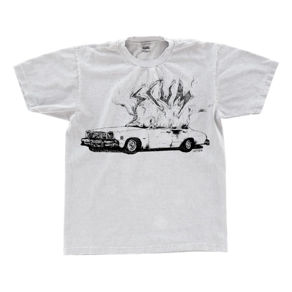 DRAWN CAR FIRE T SHIRT