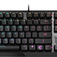 MSI Gaming Gear Backlit RGB LED Kailh Low Profile Mechanical Switches Anti Ghosting 104 Keys Brushed Aluminum Gaming Keyboard (Vigor GK50 Low Profile US)