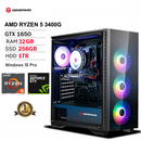 GIZMOPOWER High-Performance RGB Cooler Gaming PC: AMD Ryzen 5-3400G CPU - GTX 1650 4GB Graphic Card - 256GB SSD + 1 TB HDD - 32GB DDR4 - Window 10 Pro