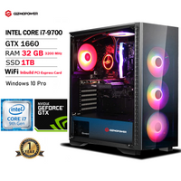 GIZMOPOWERPC Gamer Supreme Liquid Cool Gaming PC, Intel Core i7-9700 3.0 to 4.0 GHz, NVIDIA GeForce GTX 1660 6GB, RAM 32GB RGB 3200MHz DDR4, 1TB-SSD, WiFi Ready & Win 10 Pro