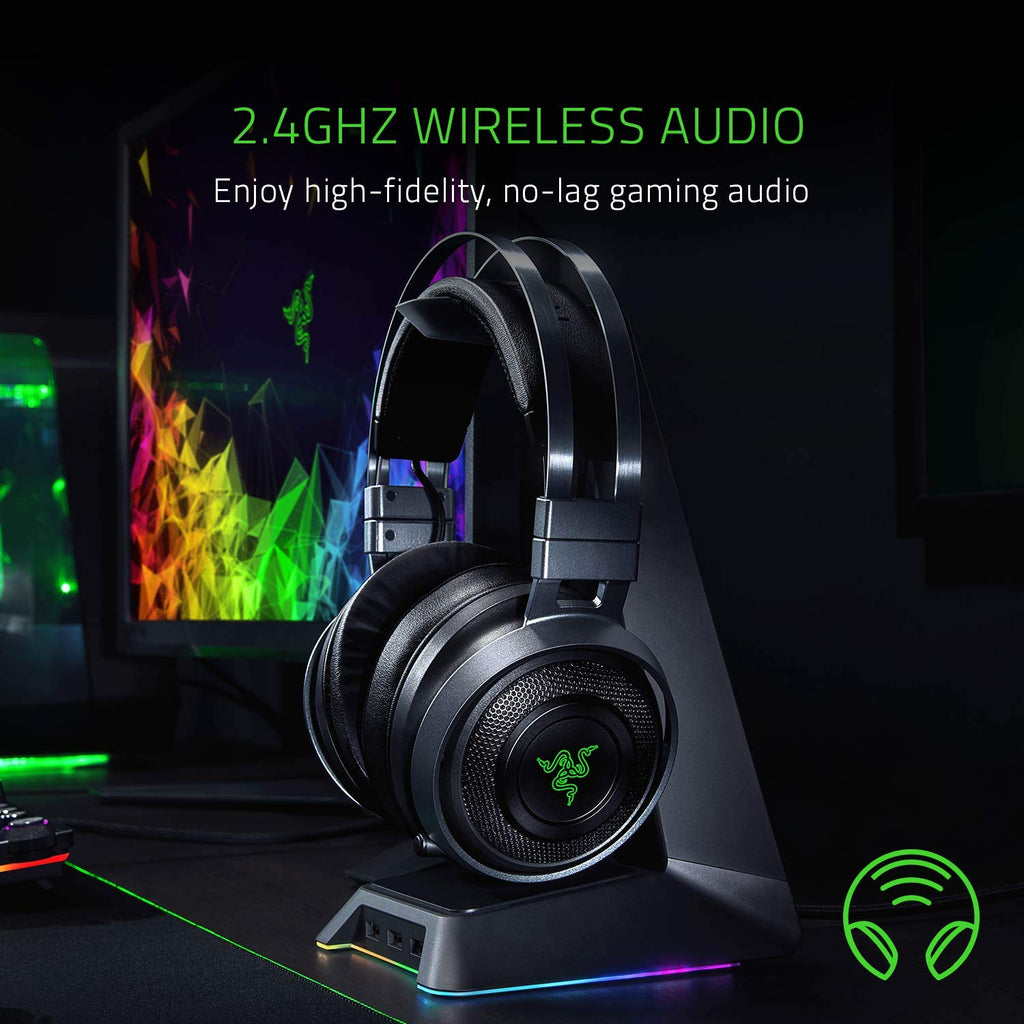 Razer Nari Ultimate Wireless Audio - Mic with Game/Chat Balance - Gaming Headset Works for PC, PS4, Xbox One, Switch and Mobile Devices