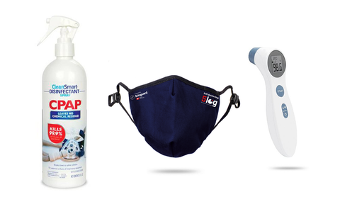 Protect Bundle ( Thermometer + Medium Mask + Disinfectant Spray )
