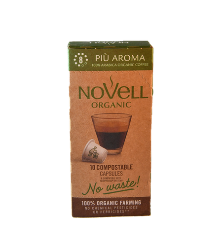 PIÙ AROMA 100% COMPOSTABLE 100% ORGANIC NO WASTE CAPSULES