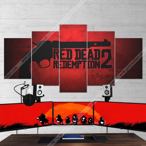 Red Dead Redemption 2  Revolver Gun Logo 5 Piece Canvas Wall Art Gaming Canvas 5PCRDR003