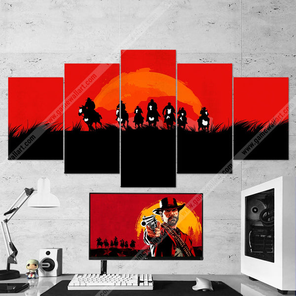 Red Dead Redemption Canvas - Minimalist 5 Piece Wall Art Gaming Canvas 5PCRDR004