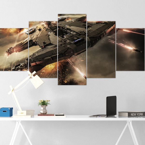 Star Citizen Canvas Wall Art - Aegis Hammerhead Canvas Wall Art - Star Citizen Poster - 5 Piece Canvas Wall Art Star Citizen Poster 05