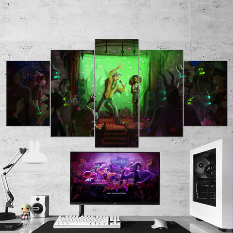 Afterparty 03 Karaoke Milo And Lola 5 Piece Canvas Wall Art Gaming Room Canvas