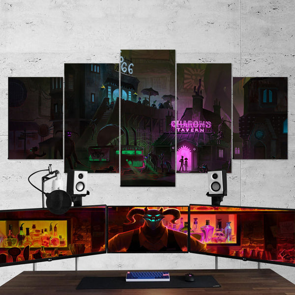 Afterparty 04 Hell Charons Tavern 5 Piece Canvas Wall Art Gaming Room Canvas