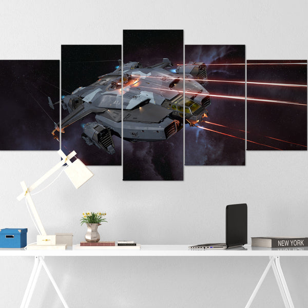 Star Citizen Canvas Wall Art - Anvil Valkyrie Canvas Wall Art - Star Citizen Canvas Print - 5 Piece Canvas Wall Art Star Citizen Poster 01