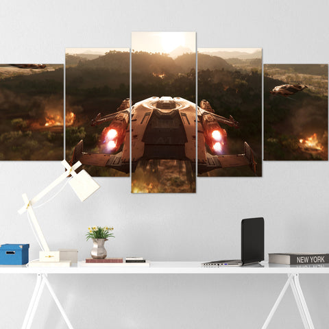 Star Citizen Canvas Wall Art - Anvil Valkyrie Canvas Wall Art - Star Citizen Canvas Print - 5 Piece Canvas Wall Art Star Citizen Poster 02