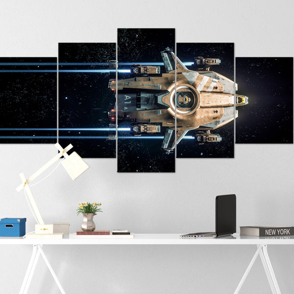 Star Citizen Canvas Wall Art - Anvil Valkyrie Canvas Wall Art - Star Citizen Canvas Print - 5 Piece Canvas Wall Art Star Citizen Poster 03