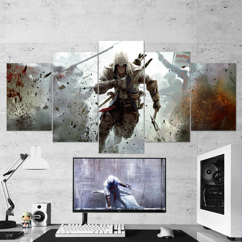 Assassin's Creed 04 - 5 Piece Canvas Wall Art Gaming Canvas Assassins Creed Poster