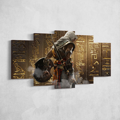 Assassin's Creed Origins Bayek 17 - 5 Piece Canvas Wall Art Gaming Canvas