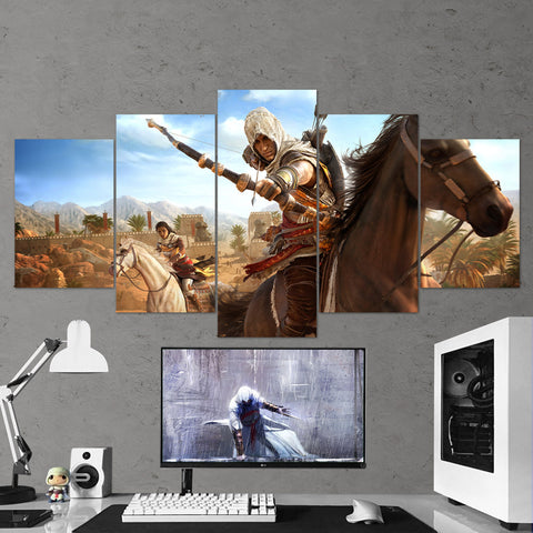Assassin's Creed Origins Bayek 18 - 5 Piece Canvas Wall Art Gaming Canvas