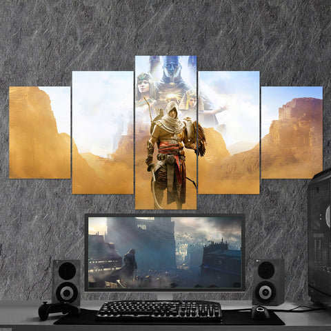 Assassin's Creed Origins Bayek 25 - 5 Piece Canvas Wall Art Gaming Canvas