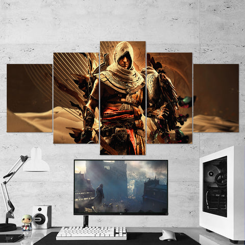Assassin's Creed Origins Bayek 29 - 5 Piece Canvas Wall Art Gaming Canvas