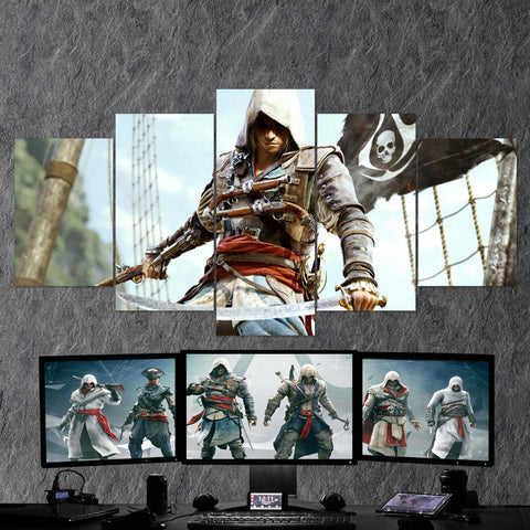 Assassin's Creed Black Flag 34 - 5 Piece Canvas Wall Art Gaming Canvas