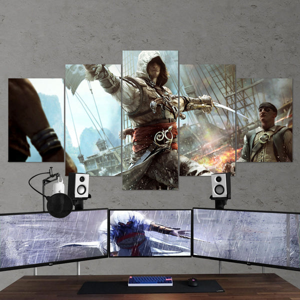 Assassin's Creed Black Flag 35 - 5 Piece Canvas Wall Art Gaming Canvas