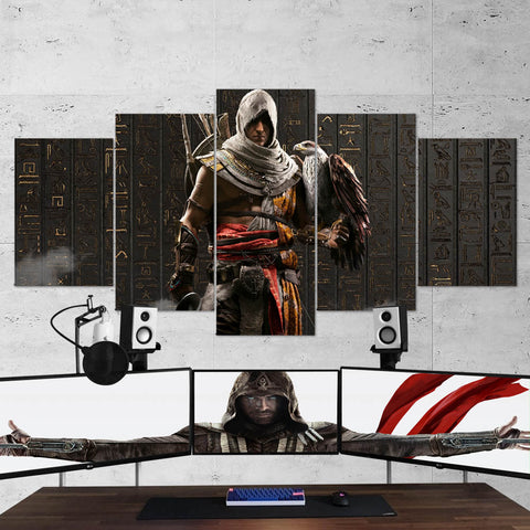 Assassin's Creed Origins Bayek 69 - 5 Piece Canvas Wall Art Gaming Canvas