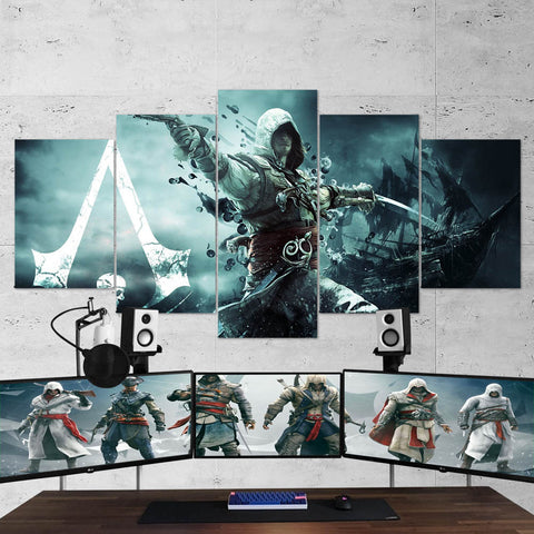 Assassin's Creed 74 - 5 Piece Canvas Wall Art Gaming Canvas