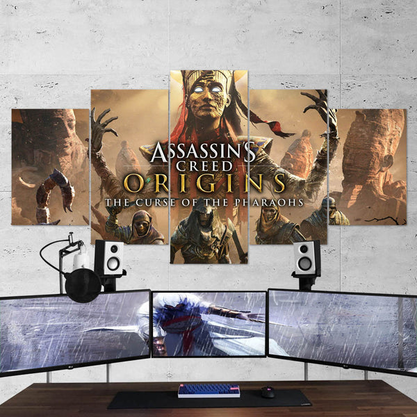Assassin's Creed Origins 84 - 5 Piece Canvas Wall Art Gaming Canvas