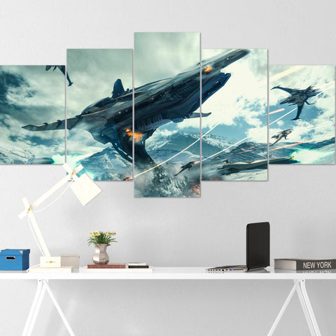 Star Citizen Canvas Wall Art - Banu Merchantman Canvas Wall Art - Star Citizen Canvas Print - 5 Piece Canvas Wall Art Star Citizen Poster 01